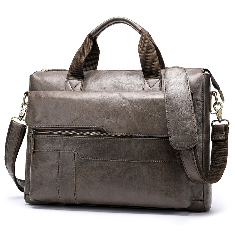 2019 New Design Vintage Men's Bag Genuine Cow Leather Briefcase Large Capacity 14