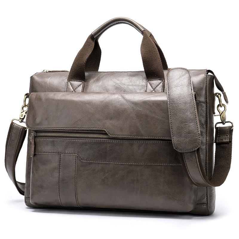 2019 New Design Vintage Men's Bag Genuine Cow Leather Briefcase Large Capacity 14