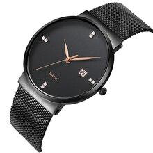 Пару часов Нержавеющаясталь Наручные часы кварцевые Для мужчин Для женщин наручные часы календарь Бизнес часы моды 30 м Водонепроницаемый часы
