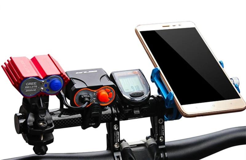 GUB 202 Carbon Fiber Al Bike Bicycle Extended Handlebar Extension Light Lamp Com