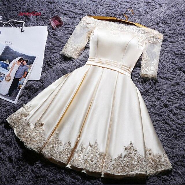 JaneyGao corto vestidos de baile para las mujeres elegante Formal vestidos champán con manga corta Vintage Noche Vestidos Fiesta en Stock