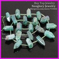 Polished Cut Green Coated Crystal Quartz Top Drilled Briolette Sticks Titanium Quartz Bullet Points Gems Druzy