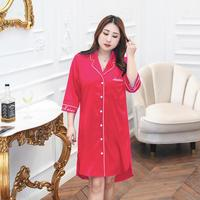 Satin Sleep Shirt Plus Size Women Nightgown Solid Loose Home Dress Short Sexy Nightwear Casual Big Size Nightshirt XL XXL XXXL