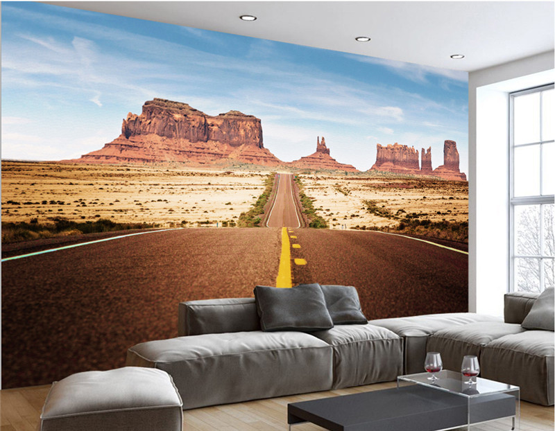 Custom 3D Room Photo Wallpaper Landscape Wall Murals For Living Room  Highway Rock Canyon TV Wallpaper Roll 3D Wall Mural Scenery In Wallpapers  From Home ... Part 63