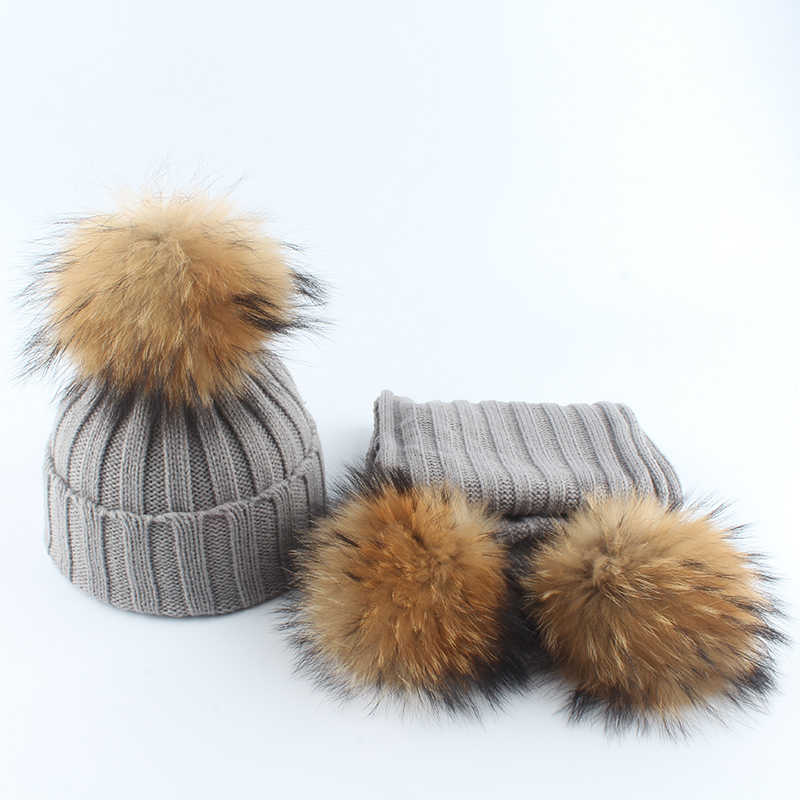 Children Real Fur Pompom Knitting Beanie Hats Scarves Set Suit Baby Boys Girls Hats Scarf  Winter Warm 2019