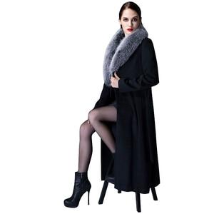 Image 2 - Высококачественное кашемировое пальто для женщин на осень и зиму, толстое теплое шерстяное пальто выше колена, утепленный шерстяной Тренч оверсайз с воротником из натурального меха лисы