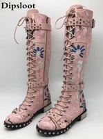 2017 Newest Rivets studded long boots leather & flock printed flowers Motorcycle Boots Round toe buckled strap bota feminina