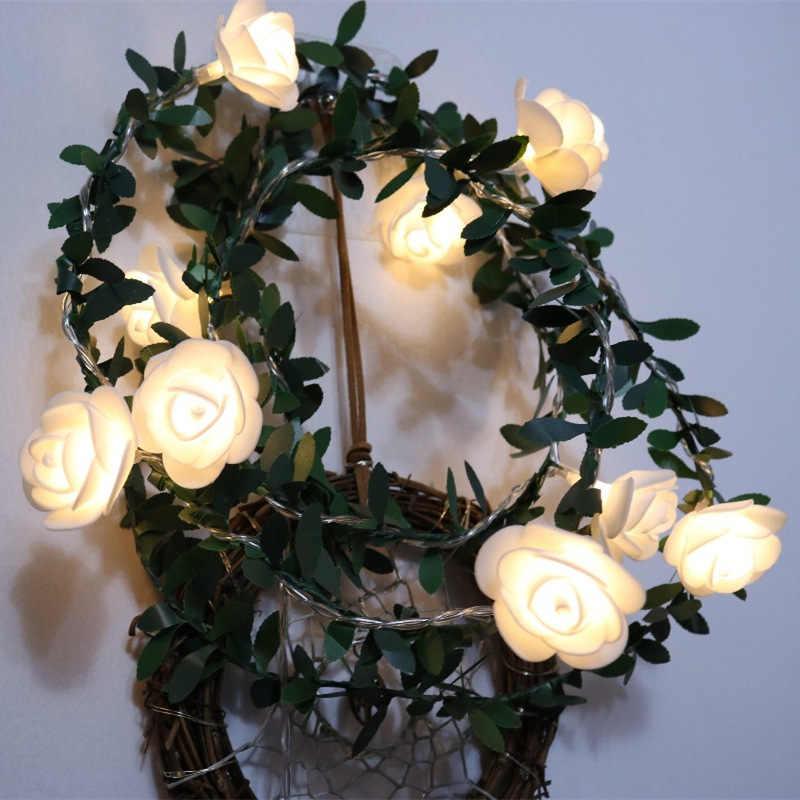 10/20/40leds Rose Flower magiczne łańcuchy świetlne led zasilany z baterii ślub walentynki wydarzenie girlanda na przyjęcie Decor Luminaria