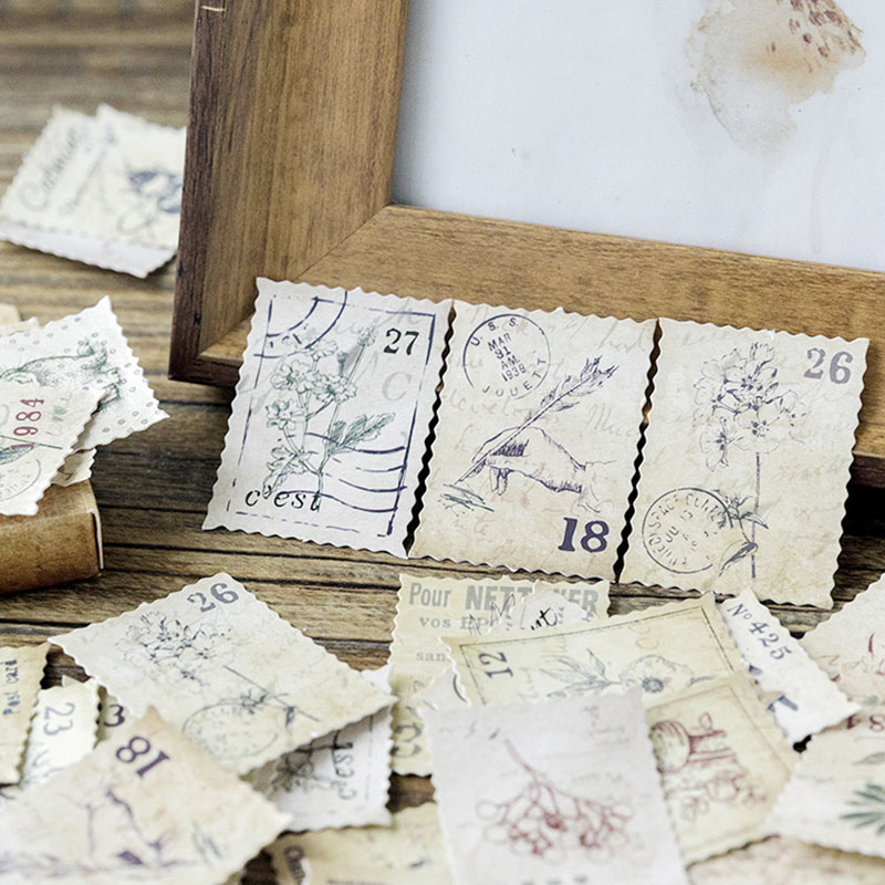 45pcs/Box Vintage Postage Stamp Stickers Travel Diary Label Stickers Bullet Journal Decorations Stamp Collecting Diary Scrapbook