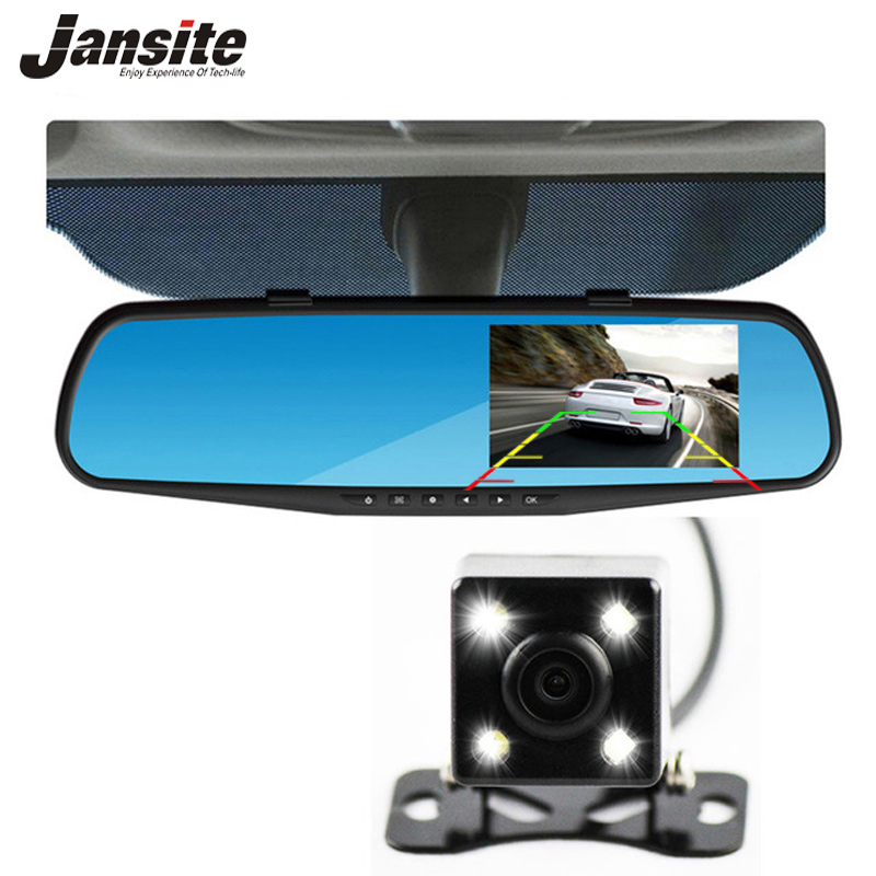 Jansite Car font b Camera b font Rearview Mirror Auto Dvr Dual Lens Dash Cam Recorder