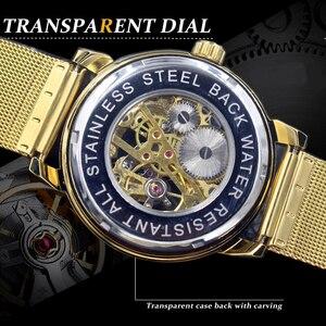 Image 2 - ORKINA Relógio Mecânico Ouro Branco Nova Moda Malha de Aço Inoxidável Strap Homens Esqueleto Relógios Top Marca de Luxo Masculino Relógio de Pulso
