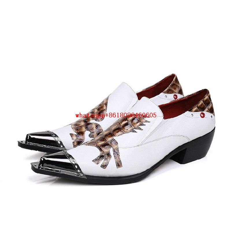 3f6758bb Choudory italiano de los holgazanes de estilo Europeo para los hombres  chaussure homme para hombre blanco zapatos de vestir punta estrecha zapatos  de boda ...