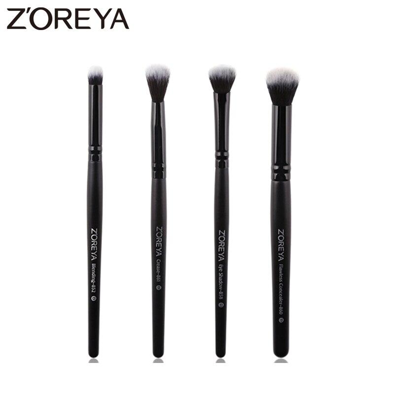 Zoreya Brand 4pcs Eye Shadow Makeup Brush Set Blending Cosmetic Brushes For Makeup Crease Flawless Concealer Make Up Tools