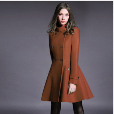 Women Wool Coat 2018 New Stand Collar Double Breasted Cashmere Jacket Elegant Fashion Female Pure Slim Plus Size cloak Outerwear