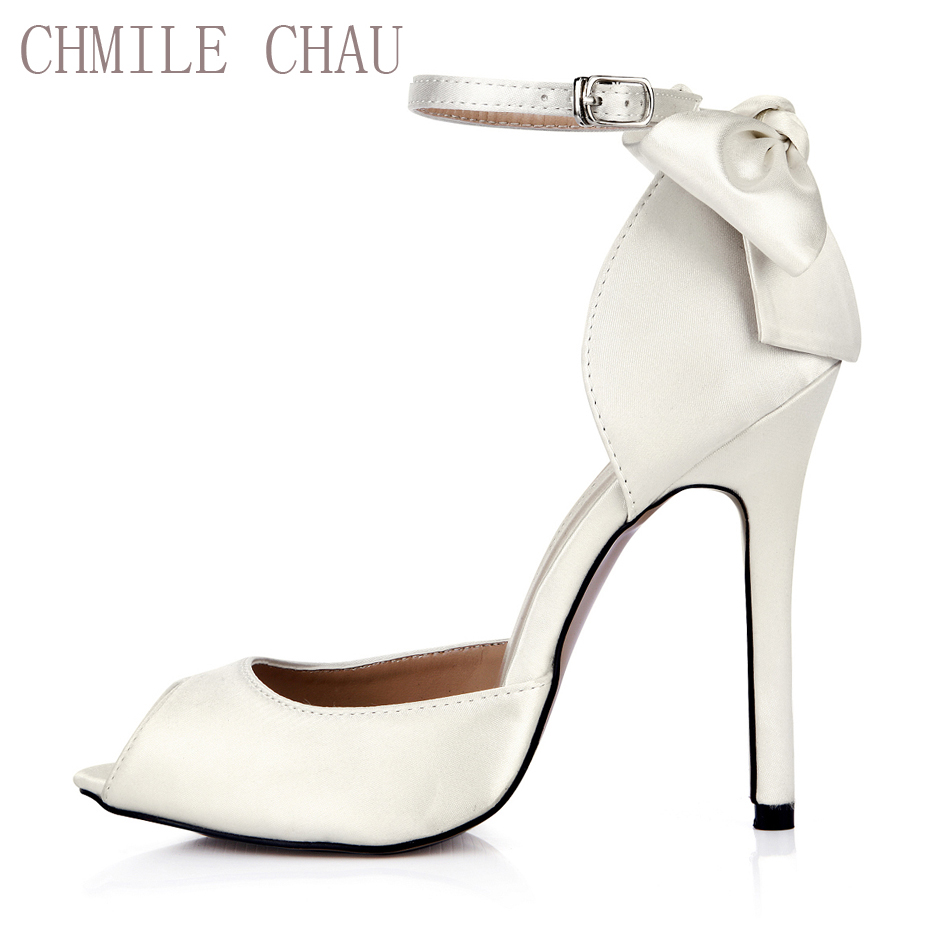 CHMILE CHAU Ivory Satin Elegant Wedding Bridal Shoes Women Peep Toe Stiletto High Heel Ankle Strap Bowing Pumps 0640C-k2 free shipping ep2107 ivory women s open toe stiletto high heel satin flowers pearls bridal wedding sandals