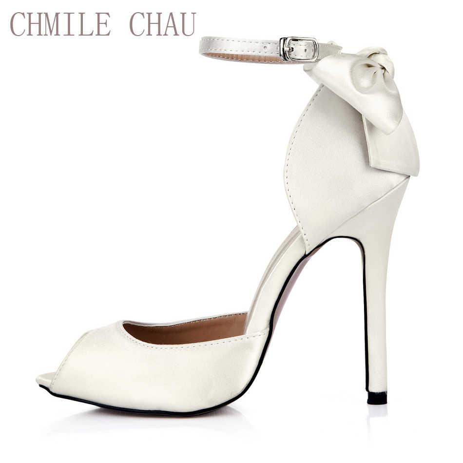 ffc833e2f CHMILE CHAU Ivory Satin Elegant Wedding Bridal Shoes Women Peep Toe  Stiletto High Heel Ankle Strap
