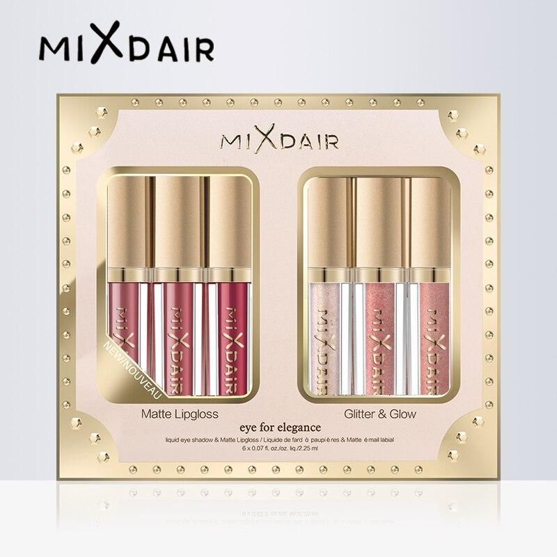 MIXDAIR 6 Farbe Matte Lip Gloss Schimmer Glitter Highlight Set Flüssigkeit Lippenstift Lidschatten Gesicht Make-Up Highlighter Diamant Pigment