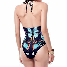 One piece Swimwear 2017 push up new Chinese Ink bathing suits women's sexy Halter Top swimsuit plus size XXL Monokini D0207