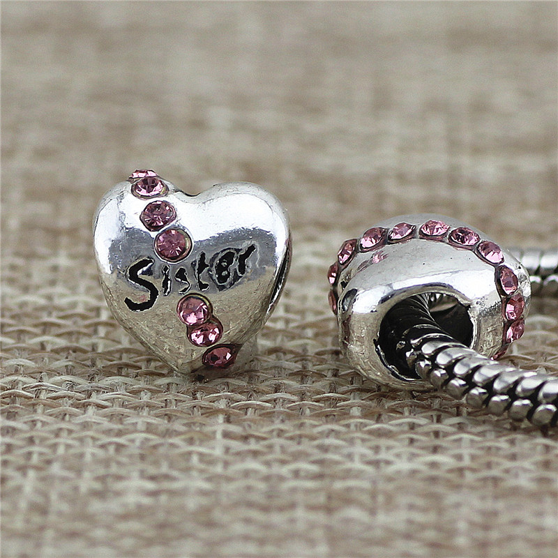 Sister heart Beads Fit Pandora Charms Antique Silver cz heart lion DIY Beads Charm for Jewelry Making
