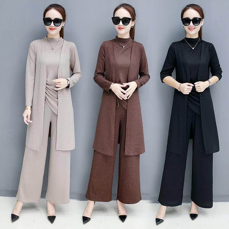 3 pcs set women knit wide leg pant 2 piece set women suit two piece set Costumes for women calvin Autumn 3