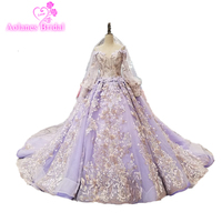 Amazing High end Wedding Dress Purple Tulle And Lace Bridal Dress Long Train Bridal Wedding Dresses 2018 New Styles With Veils