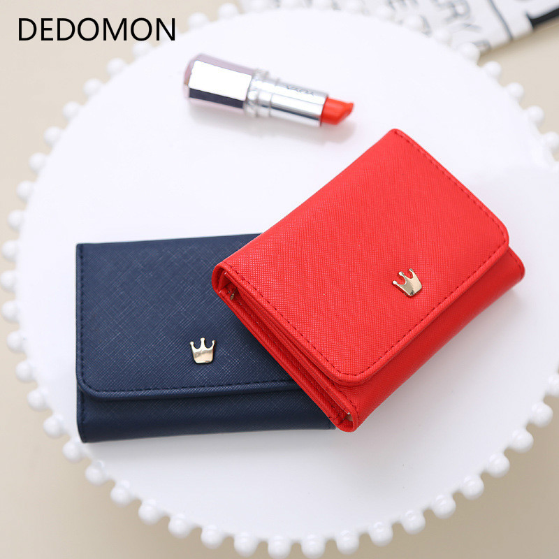 Wallet Women 2019 Lady Short Women Wallets Crown Decorated Mini Money Purses Small Fold PU Leather Female Coin Purse Card Holder(China)