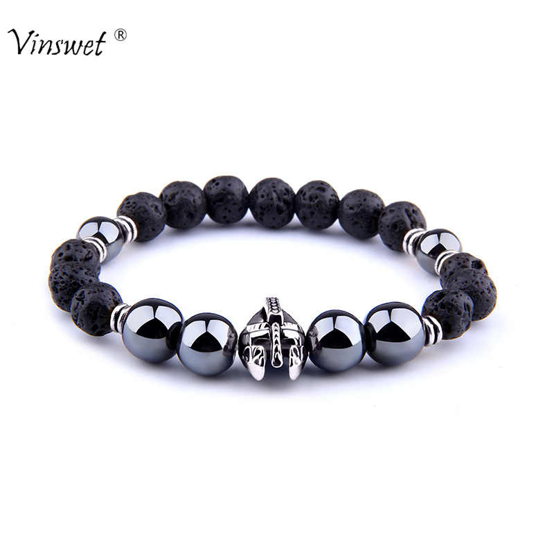 Men Bracelets Hematite Beads Bracelet Roman Knight Spartan Warrior Gladiator Helmet Strand Bracelets for Women Jewelry Hombres