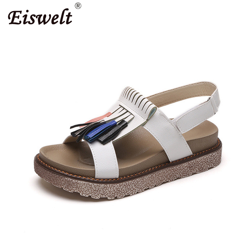EISWELT 2018 New Arrive Fashion Women Bohemian Sandals Flat Sandals Tassels Casual Summer Shoes Comfortable Female Tassel Shoes new casual women sandals shoes summer fashion slip on female sandals bohemian wild ladies flat shoes beach women footwear bt537
