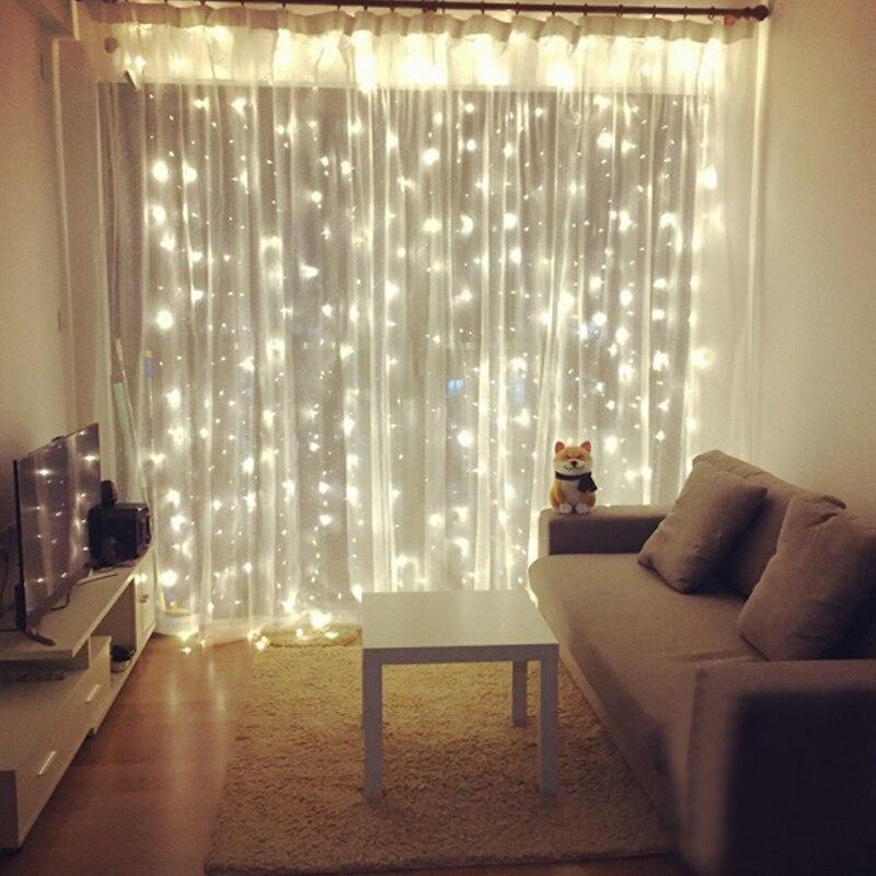 96/300 LED cortina Navidad boda vacaciones cuerda luz LED Hada de la decoración lámpara bombilla guirnalda fiesta jardín decoración de cortinas