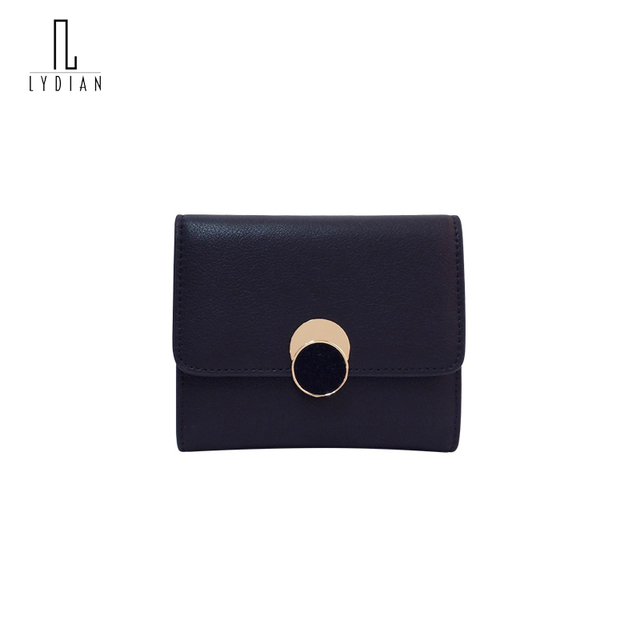 Lydian Womens Wallets And Purses Brown Round Buckle Short Clutches 2018 New Small Fresh Genuine Leather Wallet Carteira Feminino
