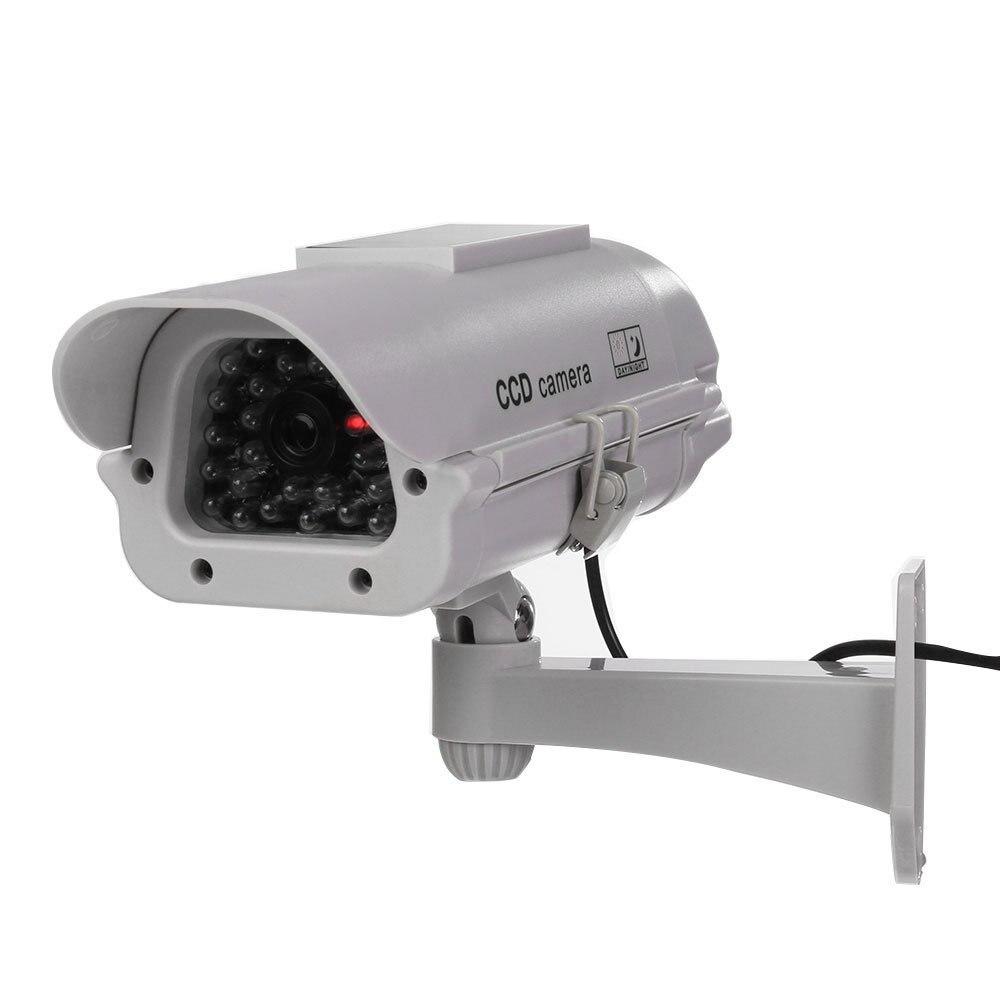 weiß Outdoor/indoor Solarbetriebene Cctv Dummy Überwachungskamera Gefälschte Cam Mit Flash Led Top Wassermelonen FÖrderung