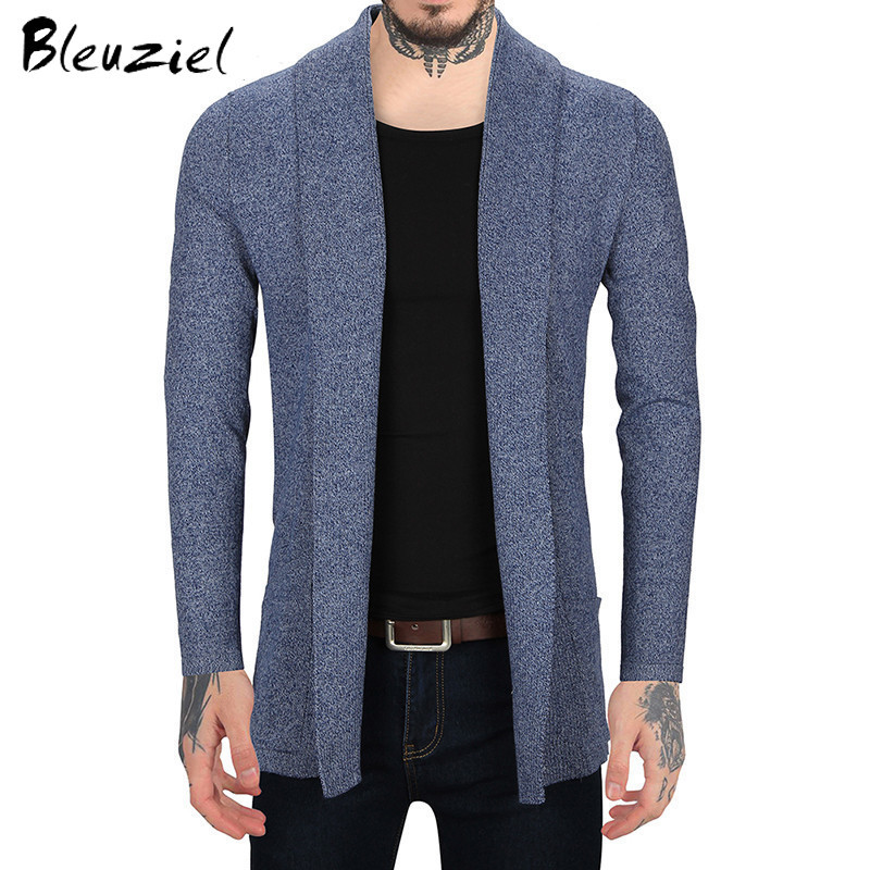 Bleizeiel Shawl Collar Sweater Slim Fit Mens Knitted Cardigans Sweaters 2017 Autumn Fashion Solid Male Cardigan Coat Men