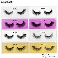 AMAOLASH Free DHL 100pairs Eyelashes 3D Mink Lashes Luxury handmade cruelty Makeup false eyelashes reusable Lashes 25styles