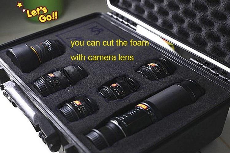 selado caso de segurança 233*178*155mm mala da câmera com espuma pré-cortada