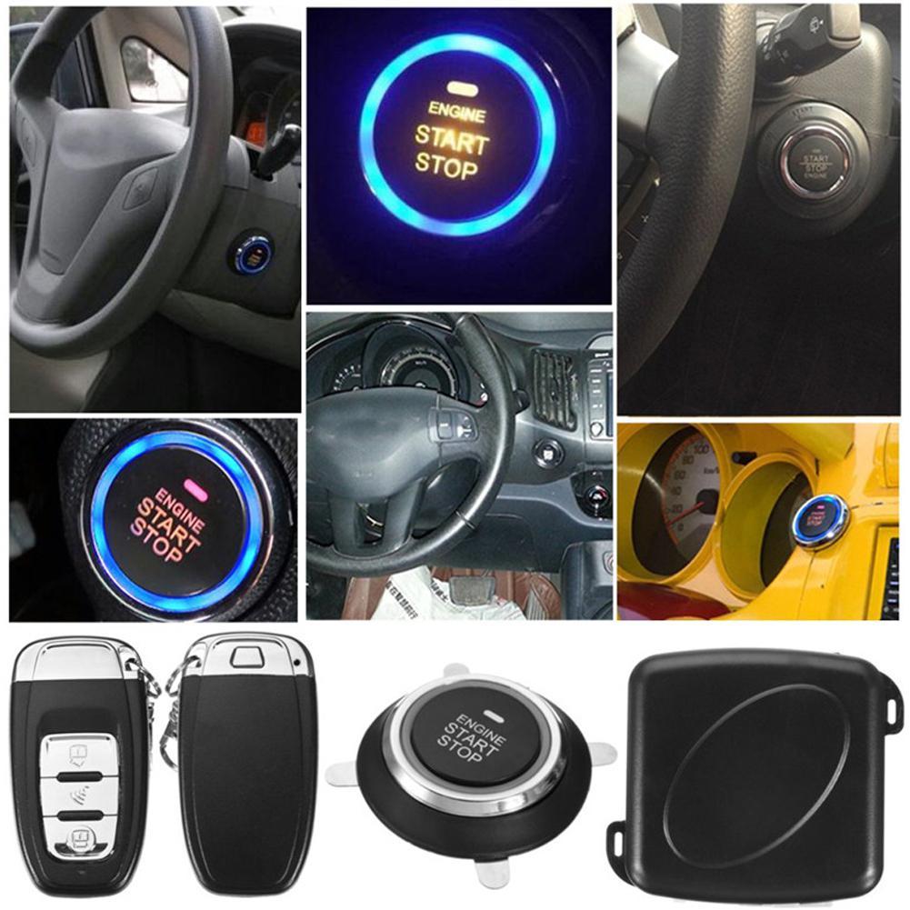 9 pièces/ensemble voiture sans clé entrée moteur démarrage système d'alarme bouton poussoir démarreur à distance Central Kit Auto porte serrure alarme antivol r15 - 5