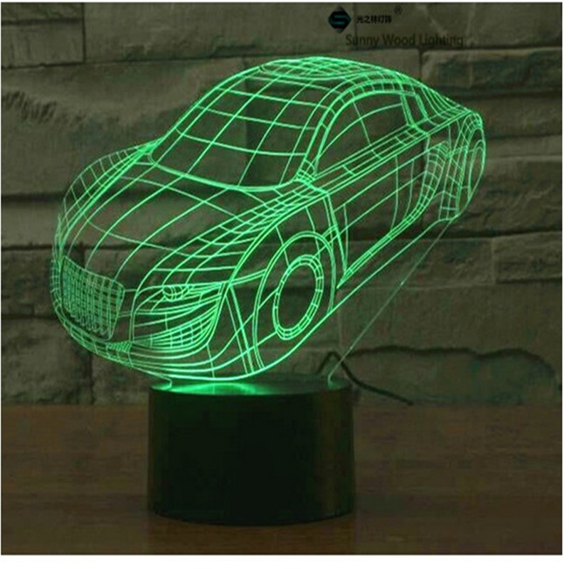 Roadster touch switch LED 3D lamp ,Visual Illusion 7color changing 5V USB for laptop, Halloween ,Christmas cartoon toy lamp