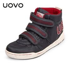 2015 UOVO oxford tissu mi-coupées enfants chaussures garçons chaussures carte motif plat semelle filles chaussures unisexe sneakers 3 couleur