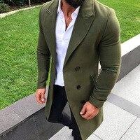 Men Fashion Turn down Collar Wool Blend Double Breasted Pea Coat Jacket Men Brand Overcoats Autumn Long Wool Coat