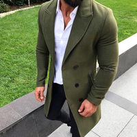 Men Fashion Turn down Collar Wool Blend Double Breasted Pea Coat Jacket Men Brand Overcoats Autumn Long Wool Coat