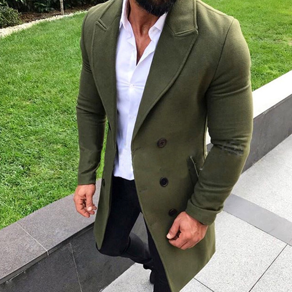 Men Fashion Turn-down Collar Wool Blend Double Breasted Pea Coat Jacket Men Brand Overcoats Autumn Long Wool Coat