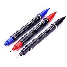 Stylos marqueurs double pointe 0,5/1,0 mm, permanents et étanches, haute qualité 6824, à plume noire, bleue ou rouge, adapté pour l'art, l'étudiant, l'école, le bureau,