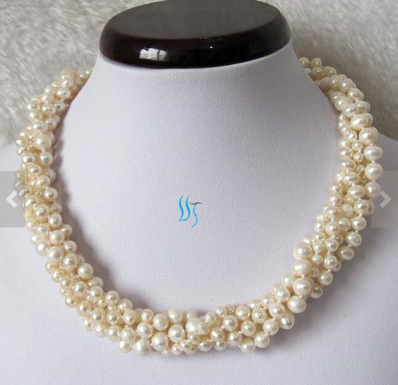 New Arriver White Pearl Jewelry Wedding Pearl Multistrand Pearl Necklace 18 inches 5 Rows White Color Freshwater Pearl Necklace excellent design 6 rows flower freshwater pearl necklace pearl jewelry set white shell necklace crystal necklace christmas gifts