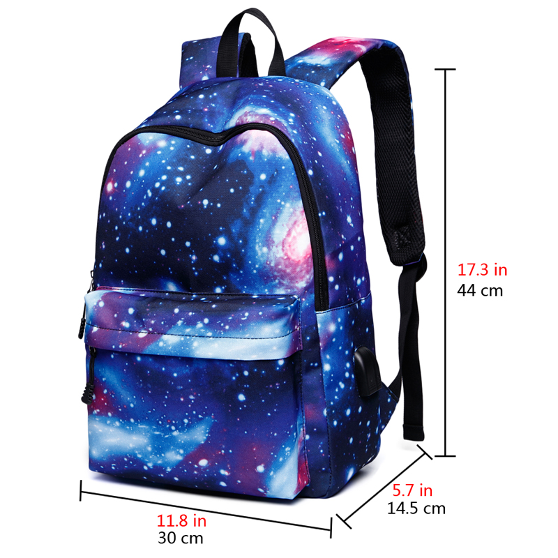 Starry Sky Travel Hiking Sports School Bags Laptop bag with USB Charging Port Casual Daypack Business Outdoor Rucksack in Laptop Bags Cases from Computer Office