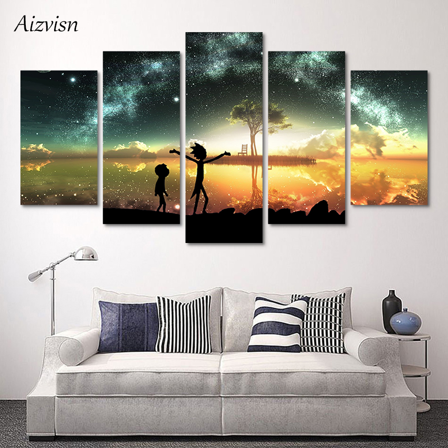 Aizvisn 5 Pieces Rick And Morty Poster Picture HD Home Starry Lake Art Decor for Kids Room Print Painting Canvas Wall Art Modern
