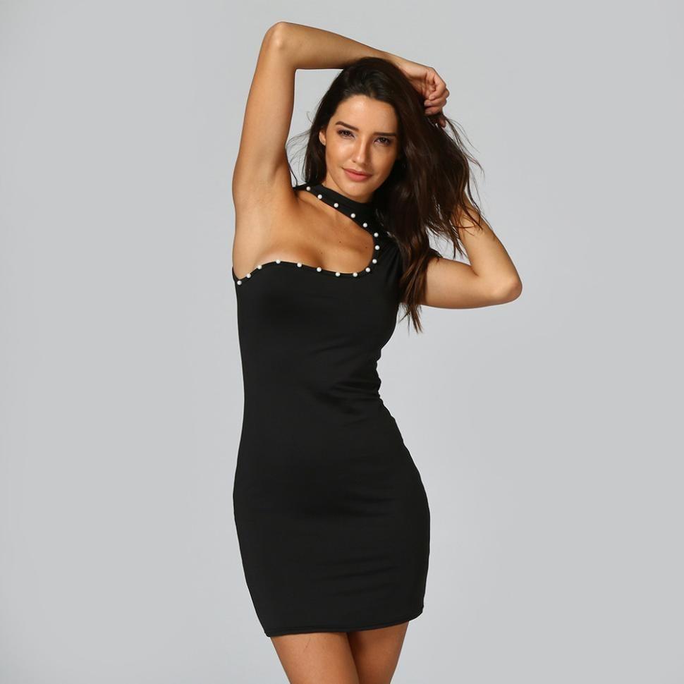 cbe33a9b358cb Sexy Dress Mini Bodycon Tight Sleeveless Party Pearl Summer Club Women  Black Dress Ladies Dresses -in Dresses from Women s Clothing on  Aliexpress.com ...