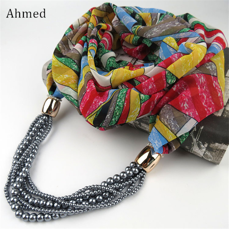 Ahmed Bohemian New Design Multi Layers Pearl Printed Chiffon Scarf Necklace Fashion Long Collar Neckerchief Scarves For Women stylish bohemian rhombus pattern fringed edge winter scarf for women