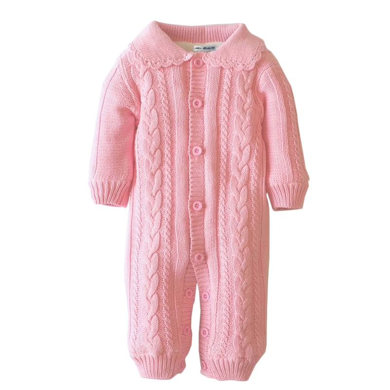 New Baby Wool Knit Rompers Girls Fashion Peter Pan Collar One-Piece Winter Thicken Jumpsuits Infant Girl Fleece Overalls