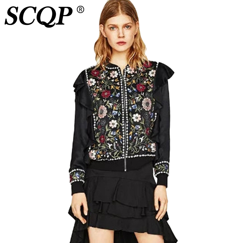 Scqp ruffles beading black embroidered jacket ladies