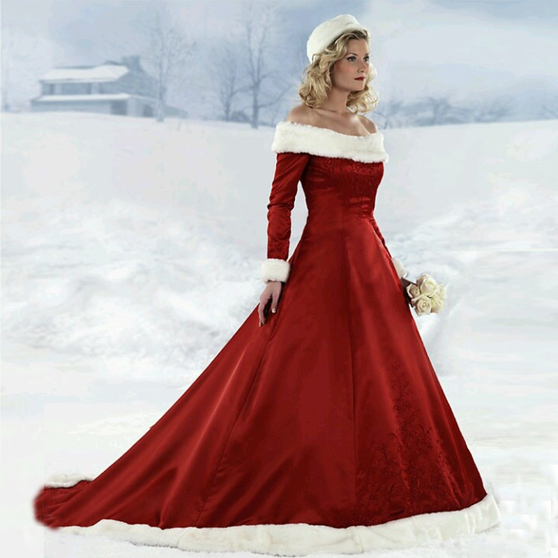 2014 winter off the shoulder a line satin fur collar red for Red wedding dresses with sleeves