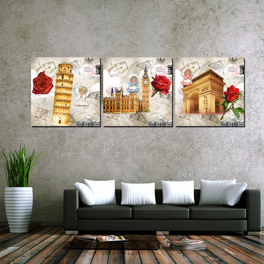 New arrival modular 3 Panel Printed Canvas Oil Paintings Europe Building Wall Pictures London Italy France Art Mur